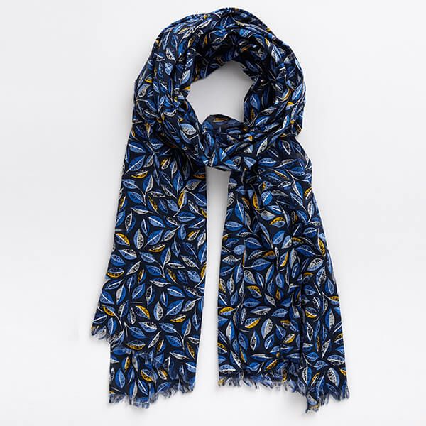 Seasalt New Everyday Scarf Embroidered Leaves Magpie