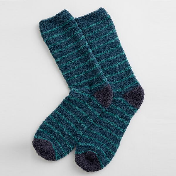 Seasalt Men's Fluffies Socks Short Breton Dark Lake Dark Jade