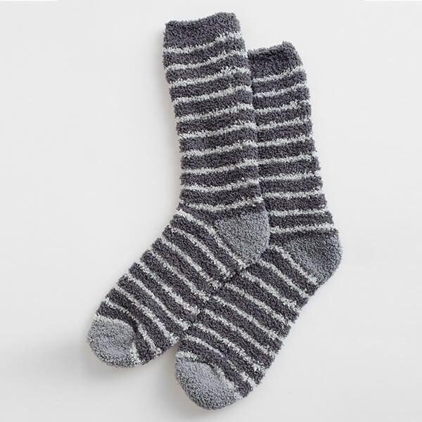 Seasalt Men's Fluffies Socks Short Breton Shadow Cobble