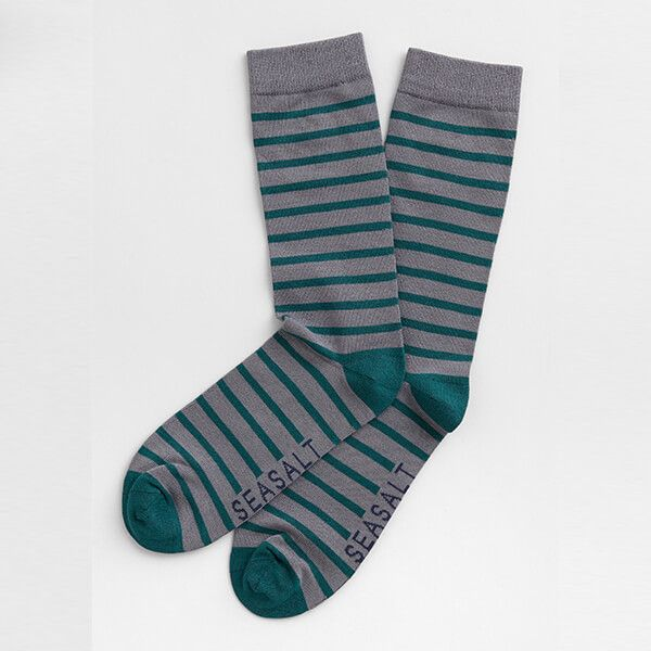 Seasalt Men's Sailor Socks Breton Stormcloud Deep Sea