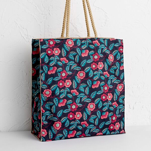 Seasalt Kitchen Garden Bag Stitched Camellia Dark Night