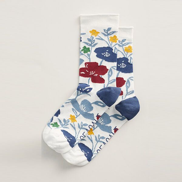 Seasalt Women's Bamboo Arty Socks Printed Poppies Ecru
