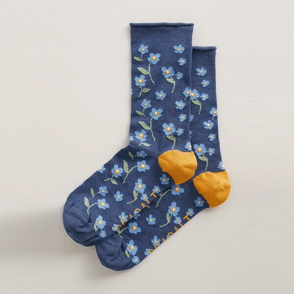 Seasalt Women's Bamboo Arty Socks Forget-Me-Not Wild Pansy