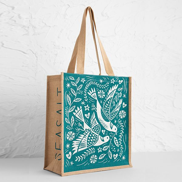 Seasalt Jute Shopper Two Turtle Doves