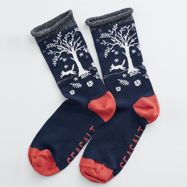 Seasalt Snowy Scenes Socks Tree Pots Raven