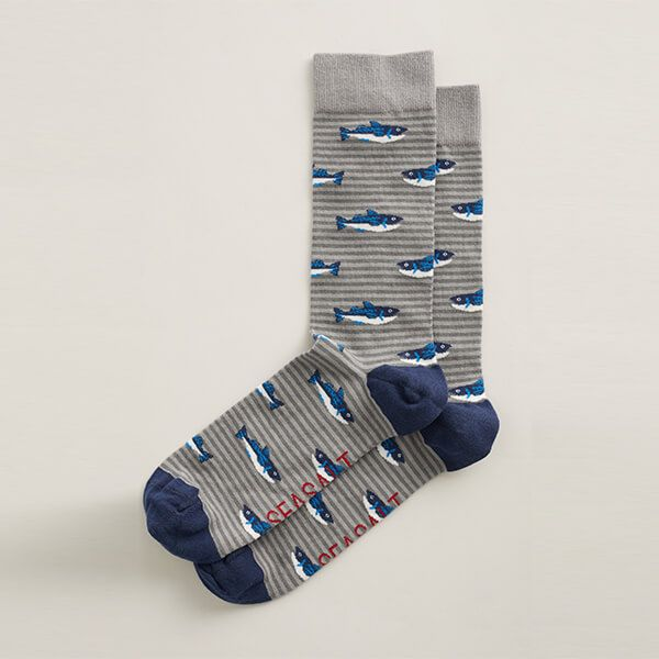 Seasalt Men's Arty Socks St Ives Catch Coal
