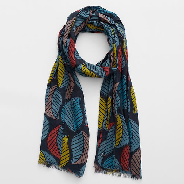 Seasalt Ferry Landing Scarf Latte Leaf Dark Night