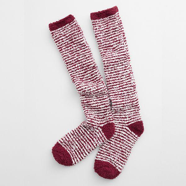 Seasalt Long Fluffies Socks Mini Stripe Rich Red
