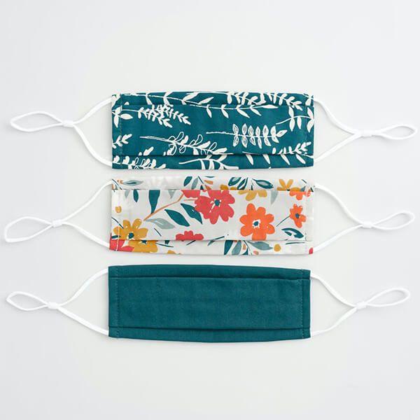 Seasalt Pleated Fabric Face Masks Box of 3 Wild Madder Mix