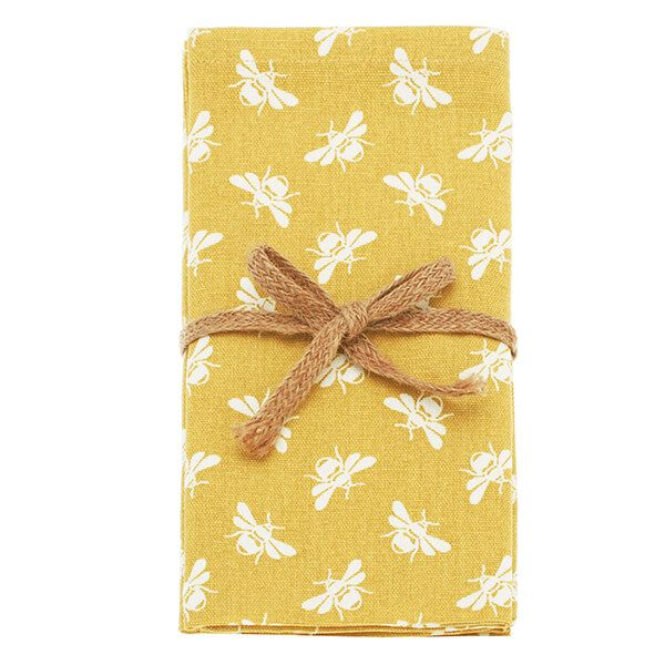 Walton & Co Ochre Bee Set Of 4 Napkins