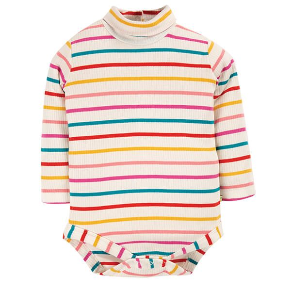 Frugi Organic Ginger Rainbow Breton Poppy Roll Neck Body