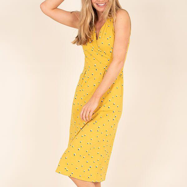 Brakeburn Yellow Confetti Wrap Dress