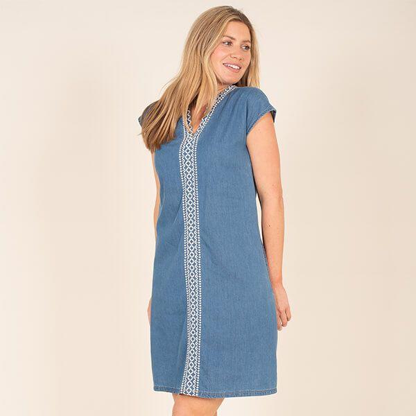 Brakeburn Embroidered Denim Dress