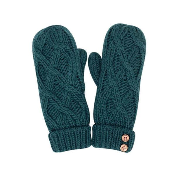 Brakeburn Teal Cable Knit Mittens