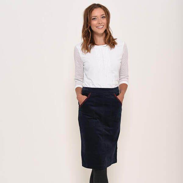 Brakeburn Navy Winter Anemone Skirt