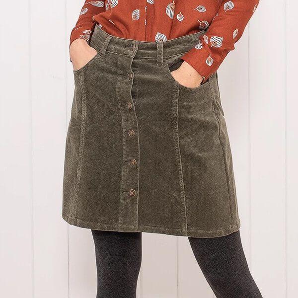 Brakeburn Moss Green Cord Button Through Skirt