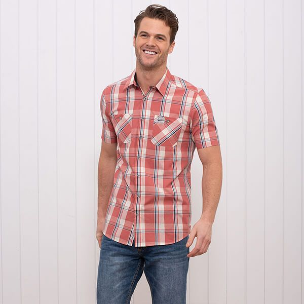 Brakeburn Short Sleeve Check Shirt Washed Red