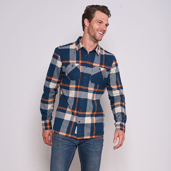 Brakeburn Orange Checked Flannel Shirt