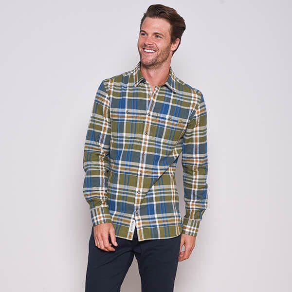 Brakeburn Olive Checked Flannel Shirt