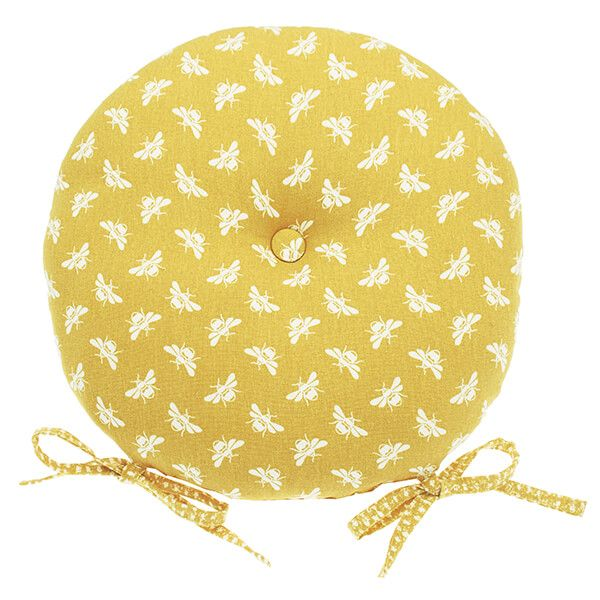 Walton & Co Ochre Bee Round Seat Pad With Ties