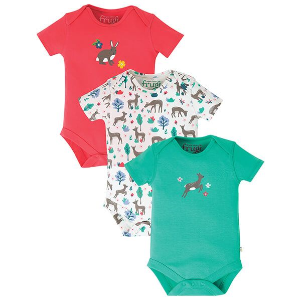 Frugi Organic Super Special 3 Pack Body Deer Multipack Size 12-18 Months
