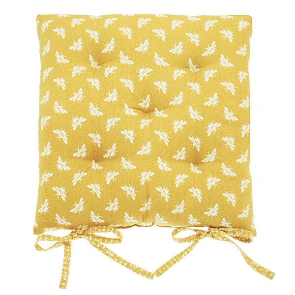 Walton & Co Ochre Bee Square Seat Pad With Ties