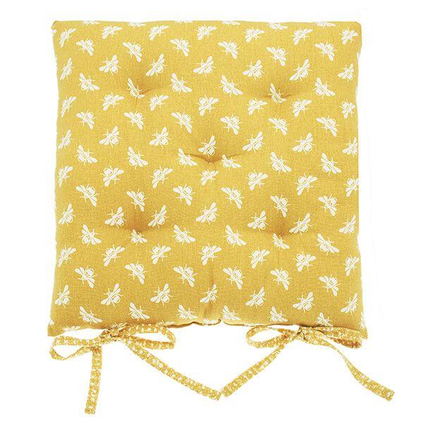 Walton & Co Ochre Bee Square Seat Pad With Ties