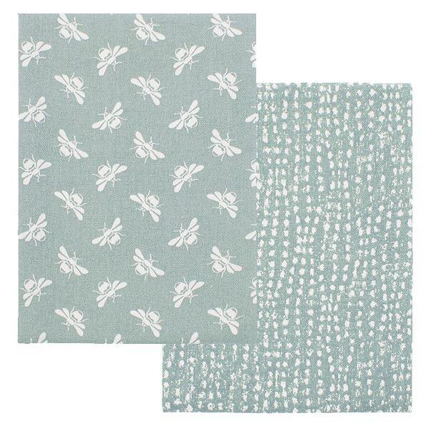 Walton & Co Moss Bee Tea Towel Set of 2
