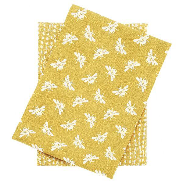 Walton & Co Ochre Bee Set Of 2 Tea Towels