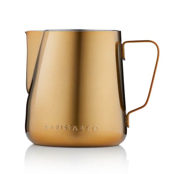 Barista & Co Beautifully Crafted Core Stainless Steel Milk Jug Gold 420ml