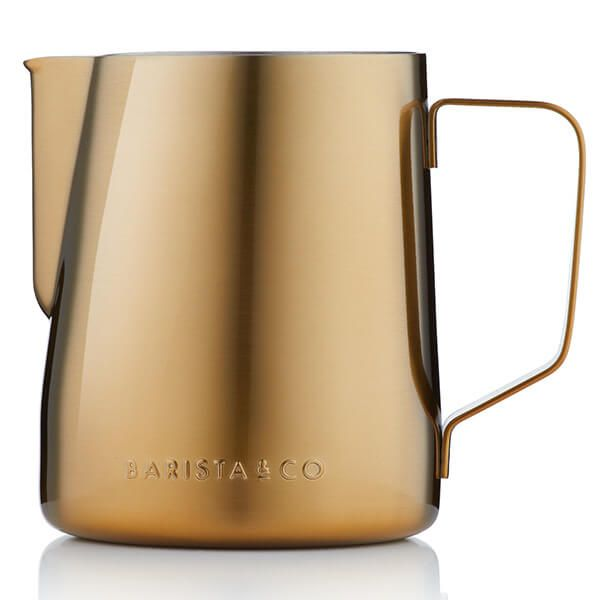 Barista & Co Beautifully Crafted Core Stainless Steel Milk Jug Gold 600ml