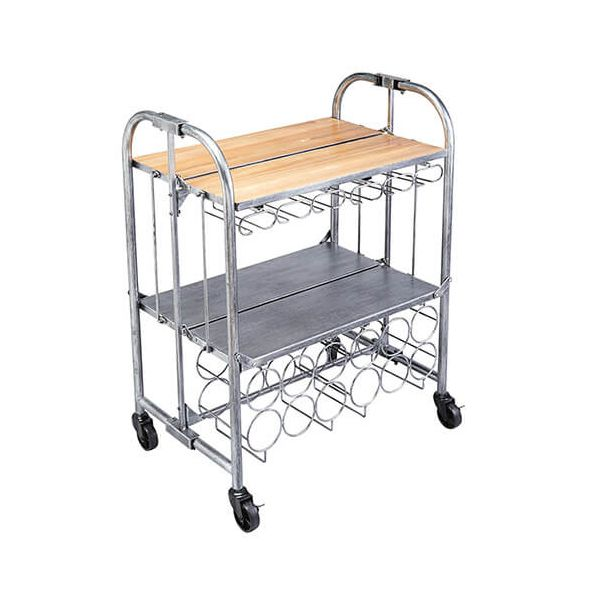 BarCraft Folding Bar Cart Acacia