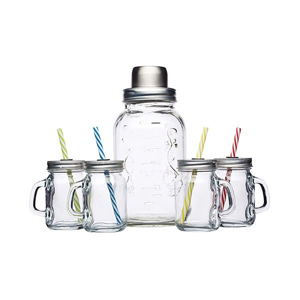 BarCraft Glass Cocktail Shaker & Mini Drinks Jar Set