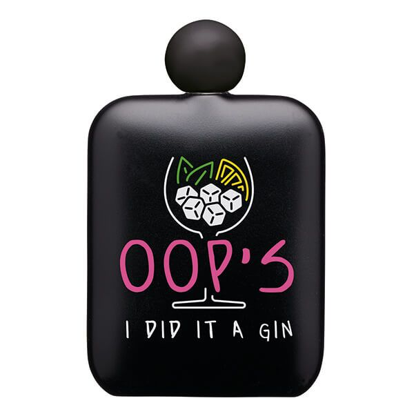 Barcraft Hip Flask Oops I Did It A Gin 145ml Neon Pink
