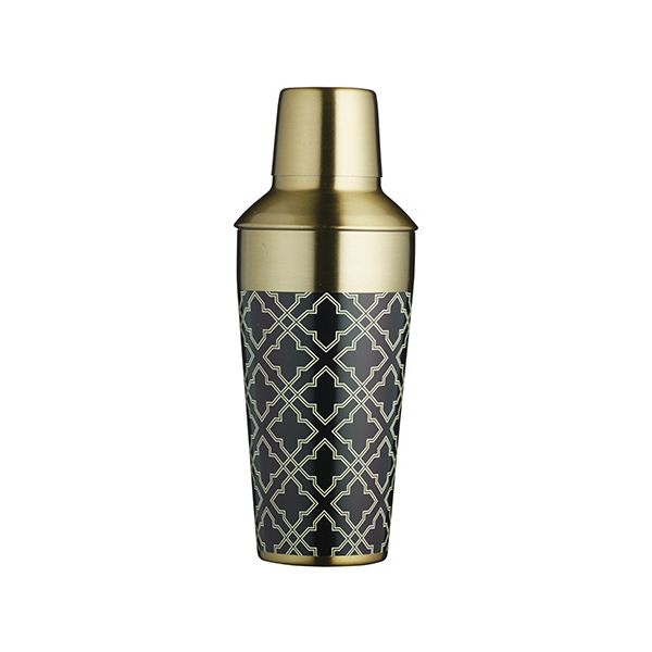 BarCraft Art Deco Brass Finish Cocktail Shaker