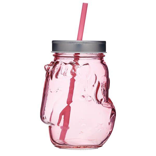 BarCraft Novelty Unicorn 500ml Pink Glass Drinks Jar