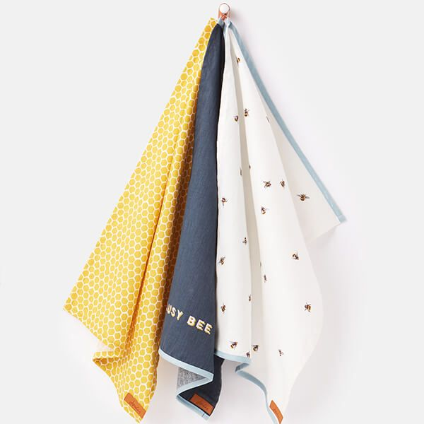 Joules Bee And Striped Tea Towels Set Of 3