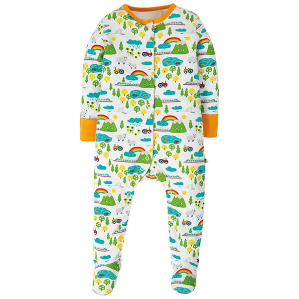 Frugi Orangic Lovely Babygrow Land Of The Rising Sun