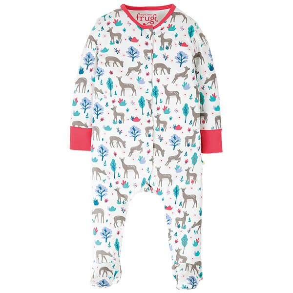 Frugi Organic Lovely Babygrow Watermelon Sika Deer Ditsy