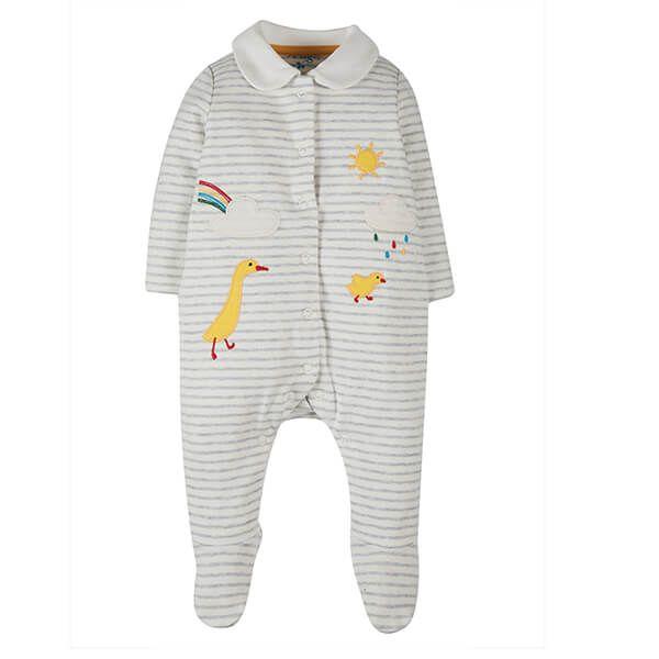 Frugi Organic Grey Marl Stripe/Ducks Collared Babygrow