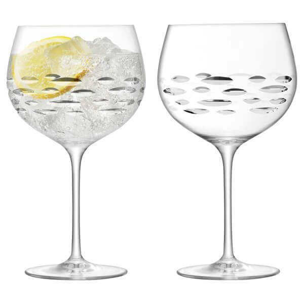 LSA Balloon Gin Glass 680ml Shoal Cut Set Of 2