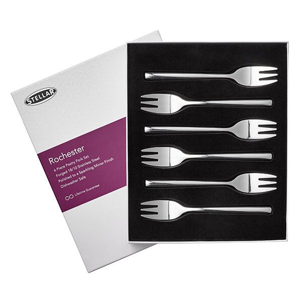 Stellar Rochester Polished Set Of 6 Pastry Forks Gift Box Set