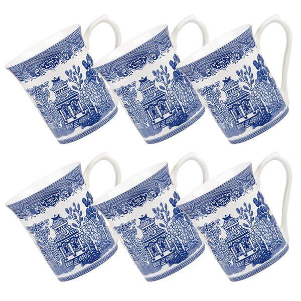 Churchill China Blue Willow Royale Mug Blue Willow 220ml Set Of 6