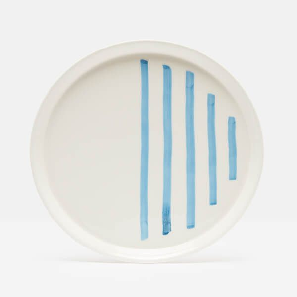 Joules Hand Painted Blue Stripe Dinner Plate
