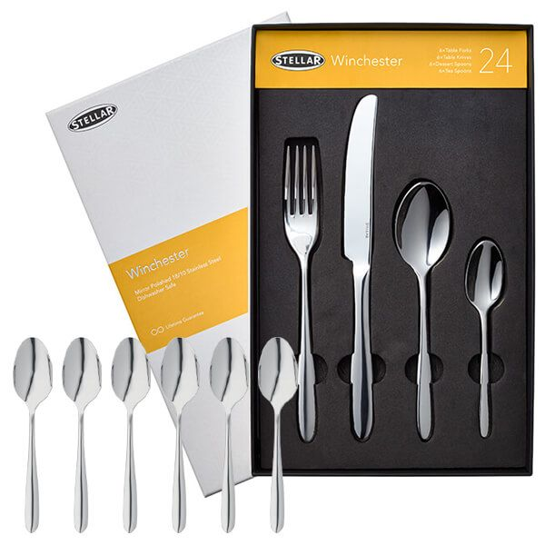 Stellar Winchester 24 Piece Cutlery Gift Box Set with FREE Gift