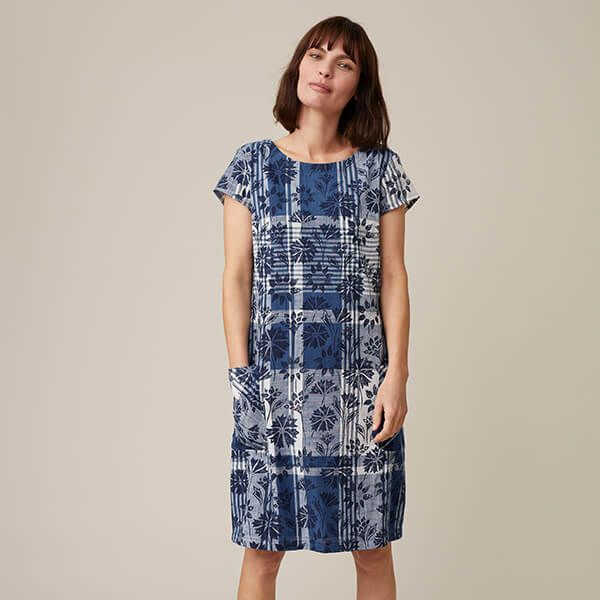 Seasalt South Downs Way Dress Sketched Motifs Marine