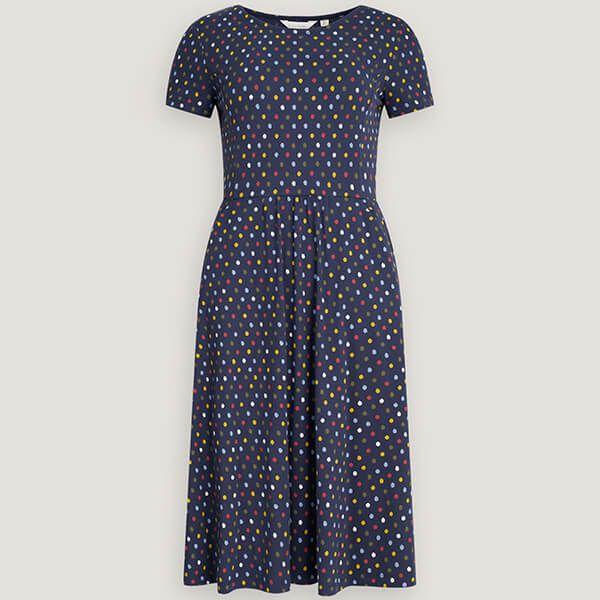 Seasalt Short Sleeve April Dress Polka Dot Waterline