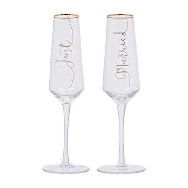Ava & I Bridal Set Of 2 Just Married Flutes