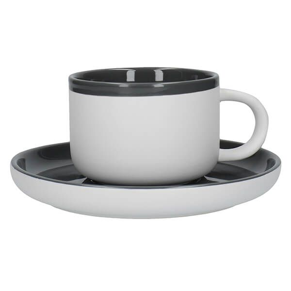 La Cafetiere Barcelona 290ml Tea Cup & Saucer Cool Grey
