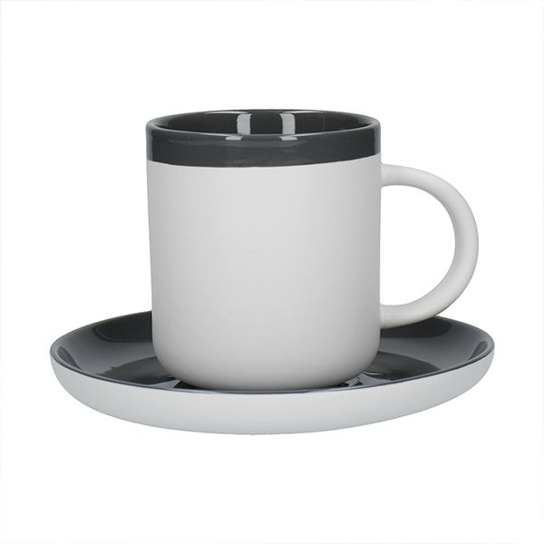 La Cafetiere Barcelona 300ml Coffee Cup & Saucer Cool Grey